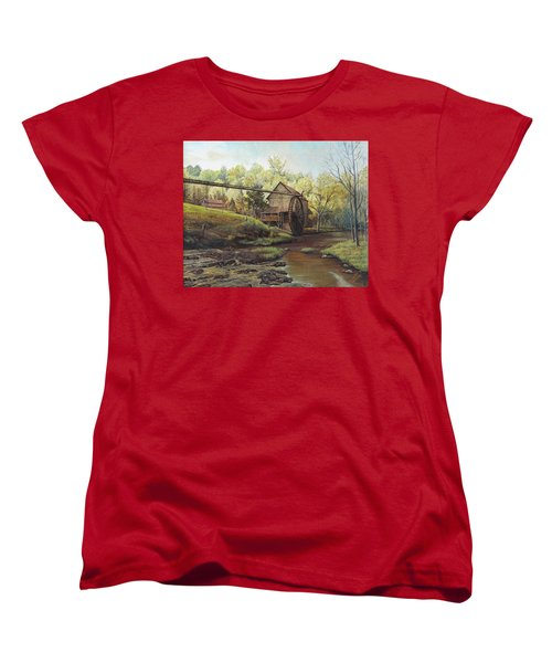 Women's T-Shirt (Standard Cut) featuring the painting Watermill At Daybreak  by Mary Ellen Anderson