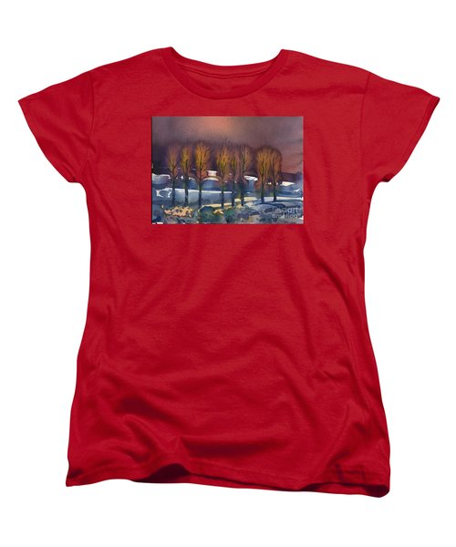 Women's T-Shirt (Standard Cut) featuring the painting Winter Fantasy by Donald Maier