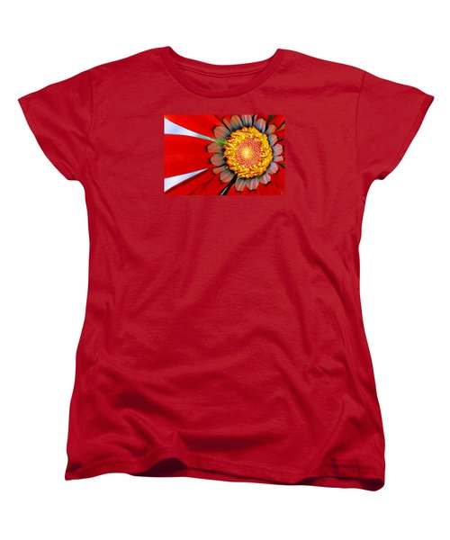Women's T-Shirt (Standard Cut) featuring the photograph Zinnia In Red by Wendy Wilton