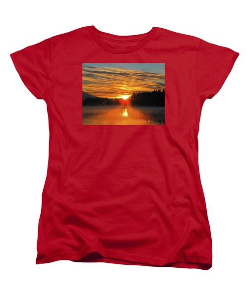 Women's T-Shirt (Standard Cut) featuring the photograph American Lake Sunrise by Tikvah's Hope