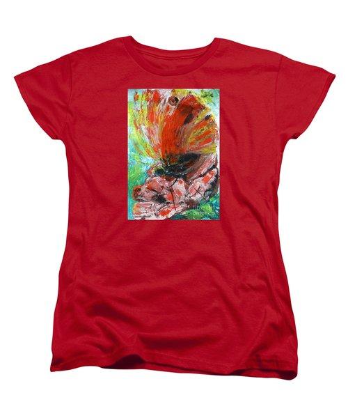 Butterfly And Flower Women's T-Shirt (Standard Cut) by Jasna Dragun