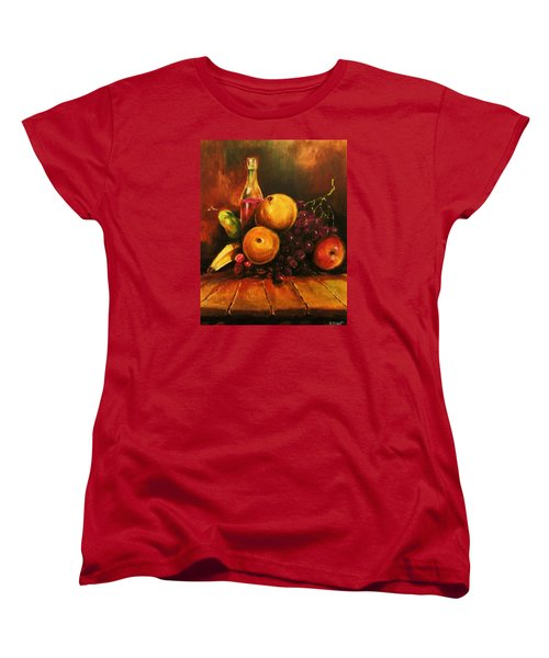 Women's T-Shirt (Standard Cut) featuring the painting Fruit And Wine by Al Brown