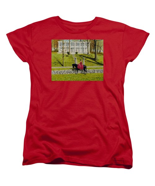 Women's T-Shirt (Standard Cut) featuring the painting Her Favorite Horse by Stacy C Bottoms