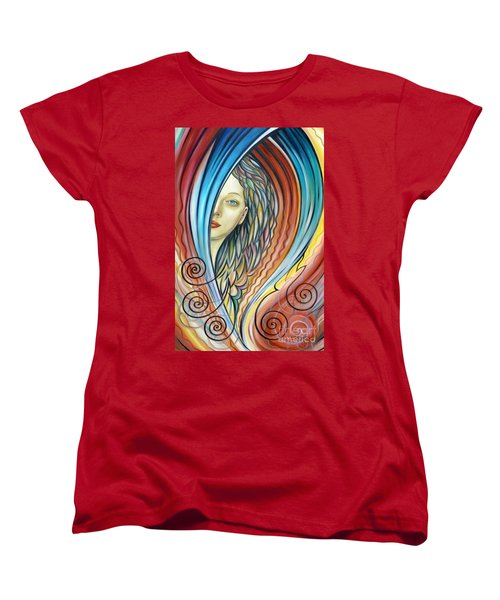 Women's T-Shirt (Standard Cut) featuring the painting Illusive Water Nymph 240908 by Selena Boron