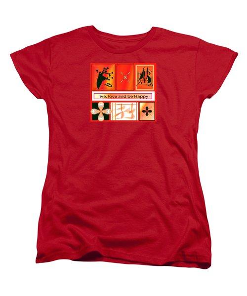 Women's T-Shirt (Standard Cut) featuring the digital art Live Love And Be Happy by Iris Gelbart
