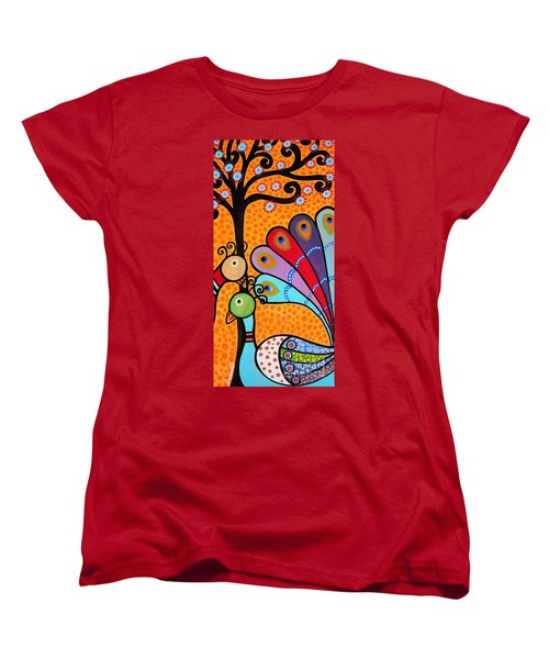 Women's T-Shirt (Standard Cut) featuring the painting 2 Peacocks And Tree by Pristine Cartera Turkus