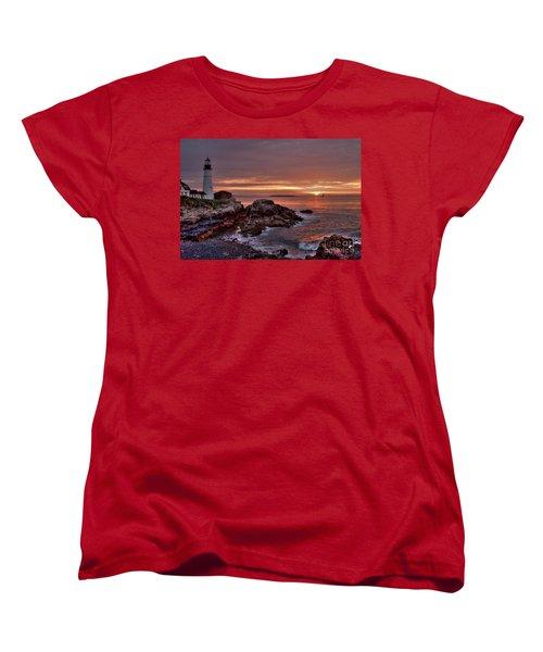 Women's T-Shirt (Standard Cut) featuring the photograph Portland Head Lighthouse Sunrise by Alana Ranney