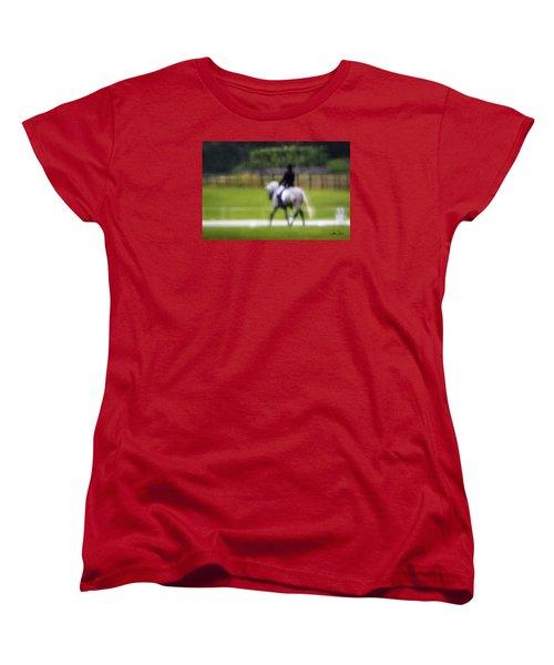 Women's T-Shirt (Standard Cut) featuring the photograph Rainy Day Dressage by Joan Davis