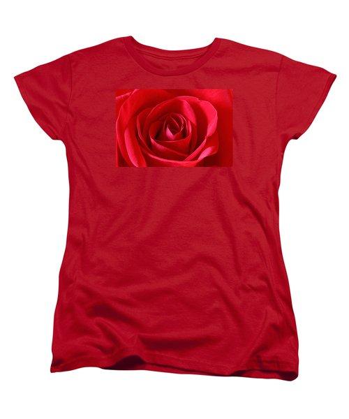 Red Rose Women's T-Shirt (Standard Cut) by Peter Lakomy