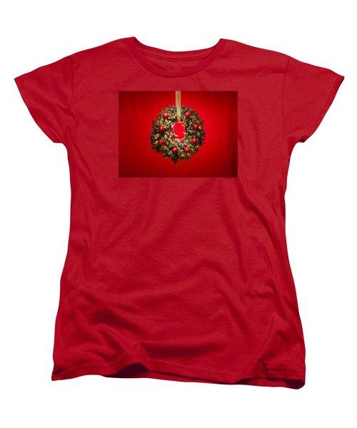 Advent Wreath Over Red Background Women's T-Shirt (Standard Cut) by Ulrich Schade
