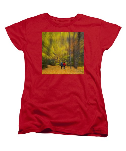A Fall Stroll Taughannock Women's T-Shirt (Standard Cut) by Jerry Fornarotto