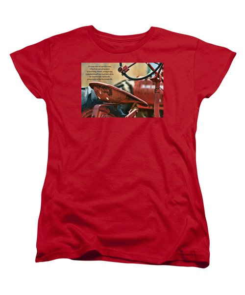 A Farmer And His Tractor Poem Women's T-Shirt (Standard Cut) by Kathy Clark