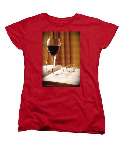 Women's T-Shirt (Standard Cut) featuring the photograph A Good Book And A Glass Of Wine by Lucinda Walter