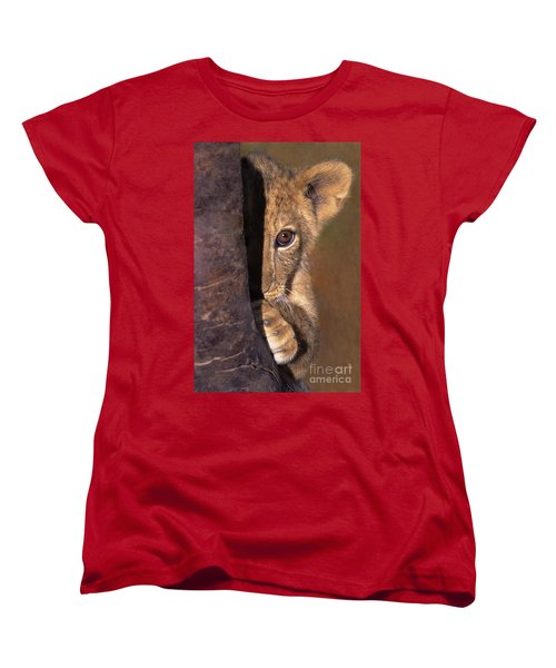 A Lion Cub Plays Hide And Seek Wildlife Rescue Women's T-Shirt (Standard Cut) by Dave Welling