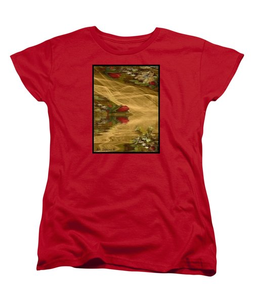 Women's T-Shirt (Standard Cut) featuring the mixed media A Rose Bud Stream by Ray Tapajna