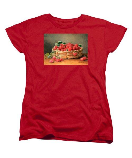 A Still Life Of Raspberries In A Wicker Basket  Women's T-Shirt (Standard Cut) by William B Hough