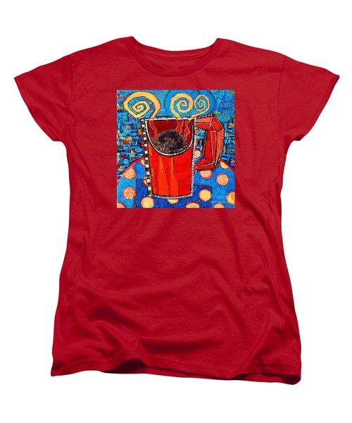 Abstract Hot Coffee In Red Mug Women's T-Shirt (Standard Cut) by Ana Maria Edulescu