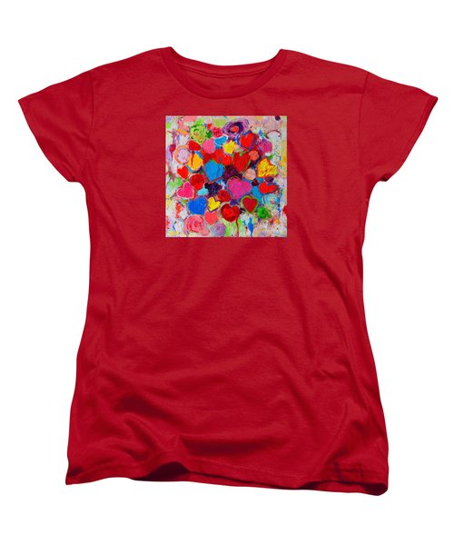 Abstract Love Bouquet Of Colorful Hearts And Flowers Women's T-Shirt (Standard Cut) by Ana Maria Edulescu