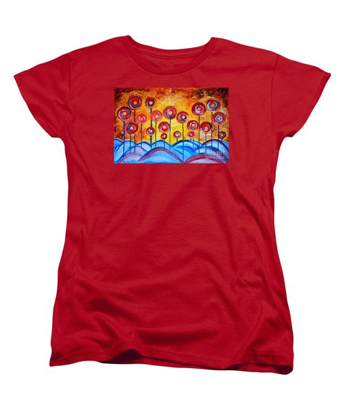 Abstract Red Symphony Women's T-Shirt (Standard Cut) by Ramona Matei