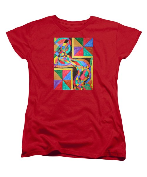 Women's T-Shirt (Standard Cut) featuring the painting Alien By Windows by Stormm Bradshaw