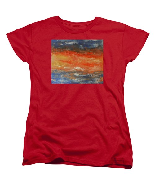 Women's T-Shirt (Standard Cut) featuring the painting Abstract Sunset  by Jane See