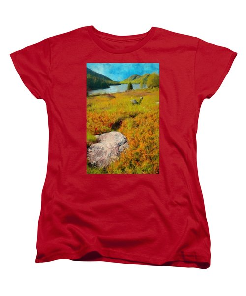 Women's T-Shirt (Standard Cut) featuring the painting Acadia Spring by Jeff Kolker