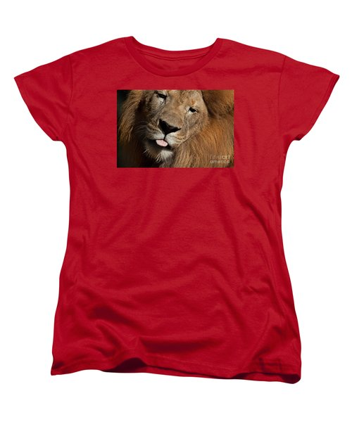 Women's T-Shirt (Standard Cut) featuring the photograph African Lion by Meg Rousher