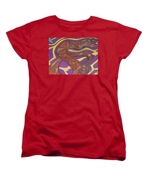 Women's T-Shirt (Standard Cut) featuring the painting African Snake Diety by Jonathon Hansen