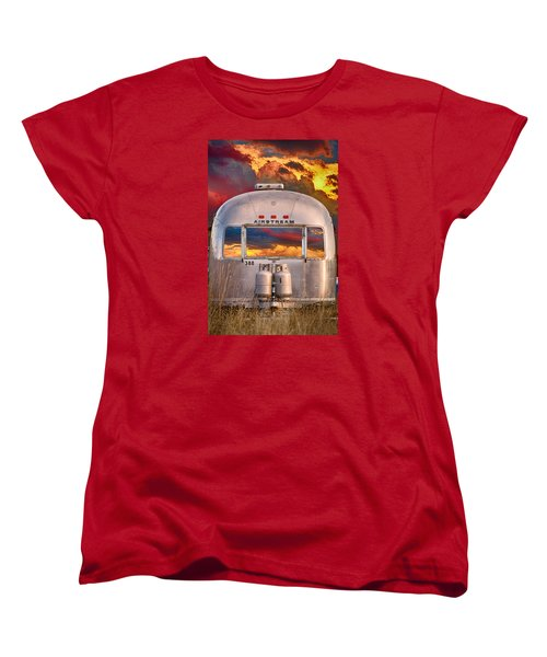 Airstream Travel Trailer Camping Sunset Window View Women's T-Shirt (Standard Cut) by James BO  Insogna