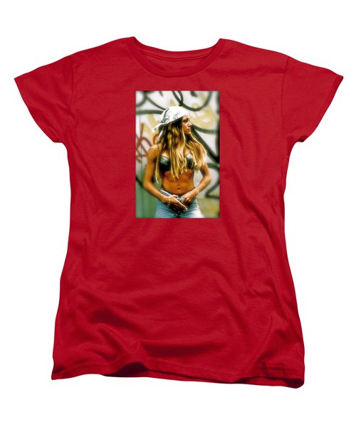 Women's T-Shirt (Standard Cut) featuring the photograph American Grunge  by Iconic Images Art Gallery David Pucciarelli