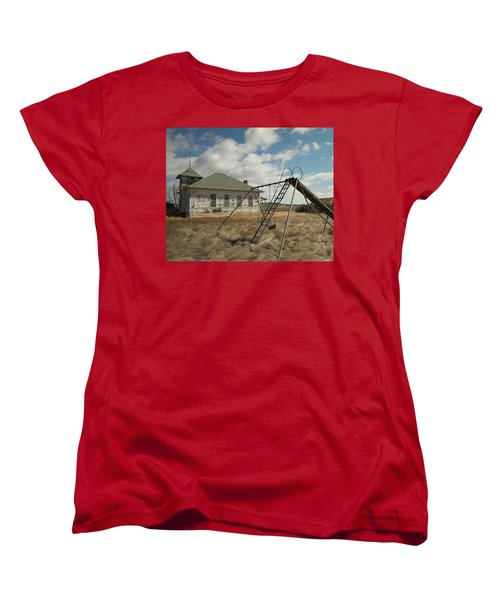 An Old School Near Miles City Montana Women's T-Shirt (Standard Cut) by Jeff Swan