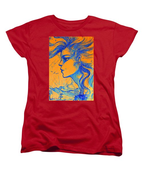 Women's T-Shirt (Standard Cut) featuring the drawing Anima Sunset by Leanne Seymour