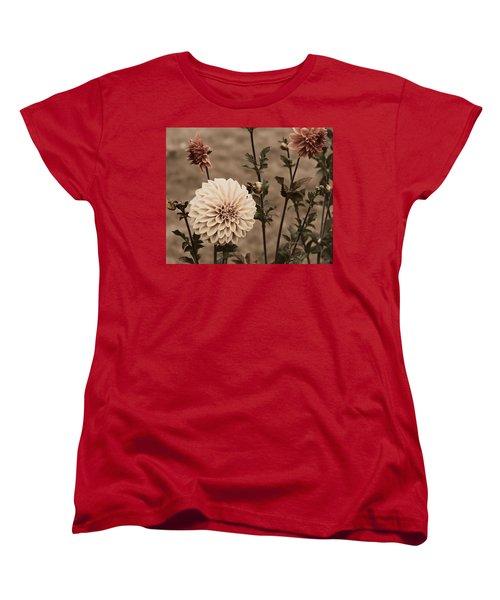 Antiqued Dahlias Women's T-Shirt (Standard Cut) by Jeanette C Landstrom