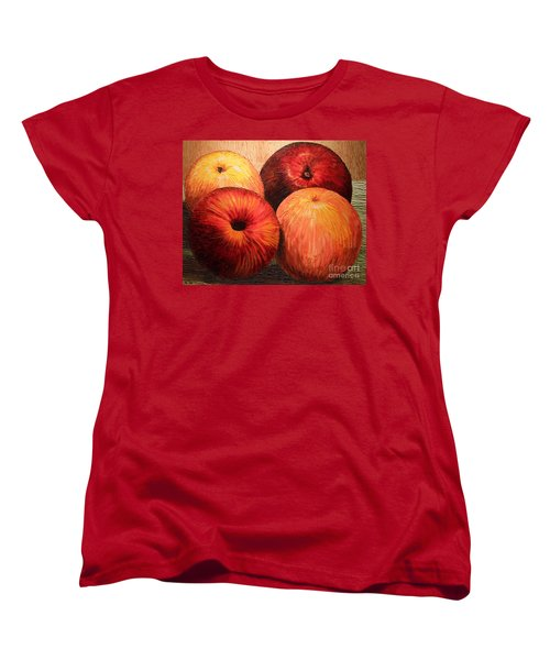 Women's T-Shirt (Standard Cut) featuring the painting Apples And Oranges by Joey Agbayani
