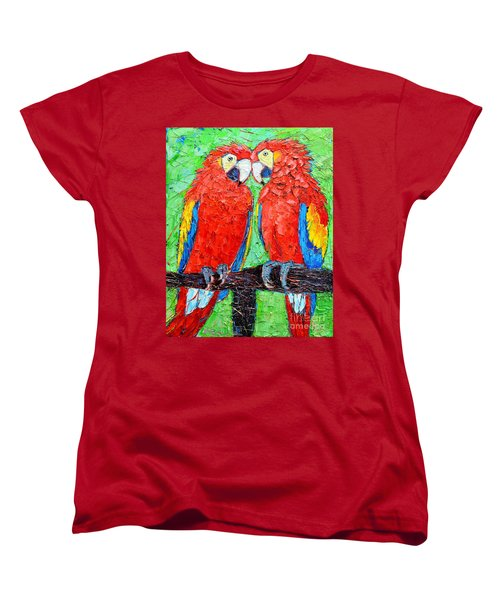 Ara Love A Moment Of Tenderness Between Two Scarlet Macaw Parrots Women's T-Shirt (Standard Cut) by Ana Maria Edulescu