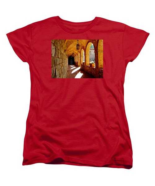 Archway By Courtyard In Castello Di Amorosa In Napa Valley-ca Women's T-Shirt (Standard Cut) by Ruth Hager
