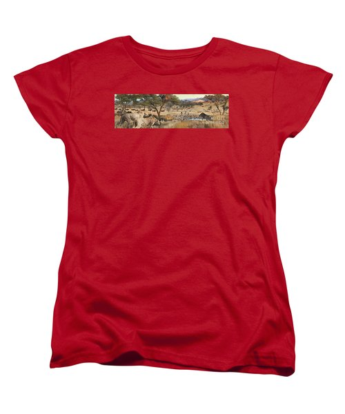 Women's T-Shirt (Standard Cut) featuring the painting Arrival by Rob Corsetti