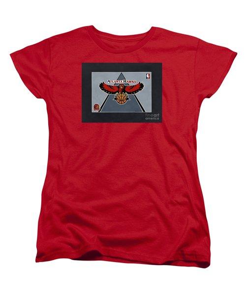 Atlanta Hawks T-shirt Women's T-Shirt (Standard Cut) by Herb Strobino