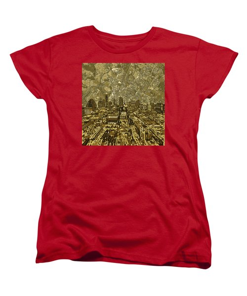 Austin Texas Vintage Panorama Women's T-Shirt (Standard Cut) by Bekim Art