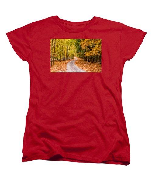 Autum Path Women's T-Shirt (Standard Cut) by Melinda Ledsome