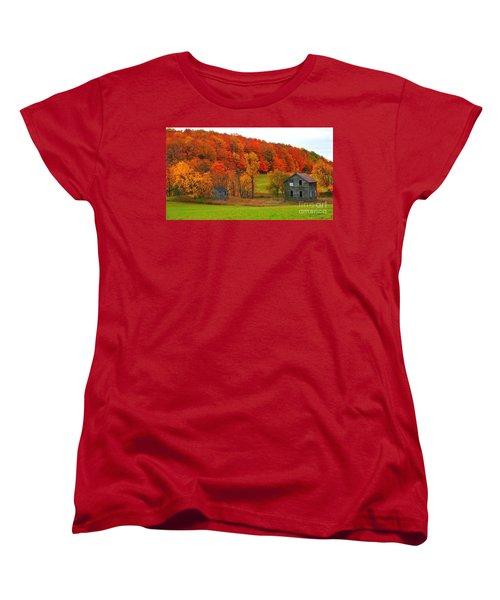 Women's T-Shirt (Standard Cut) featuring the photograph Autumn Abandoned by Terri Gostola