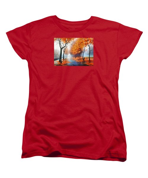 Women's T-Shirt (Standard Cut) featuring the photograph Autumn Boulevard by Charmaine Zoe
