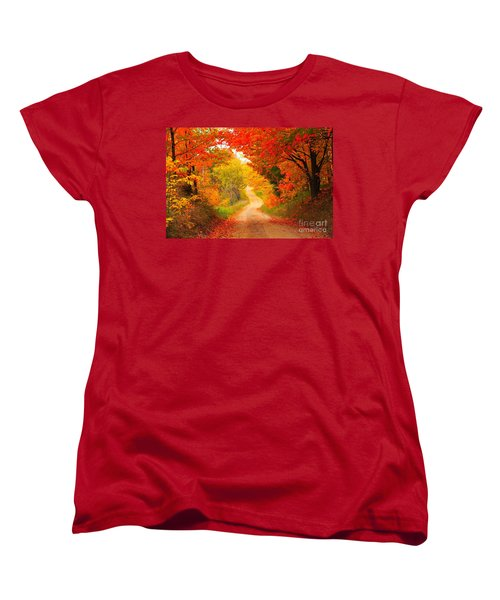Women's T-Shirt (Standard Cut) featuring the photograph Autumn Cameo Road by Terri Gostola