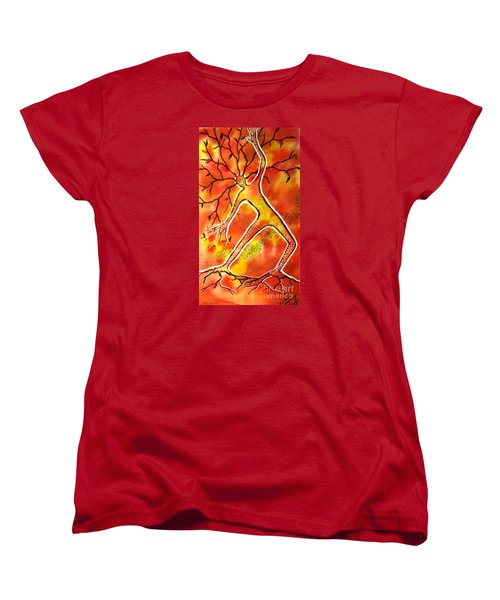 Women's T-Shirt (Standard Cut) featuring the painting Autumn Dancing by Leanne Seymour