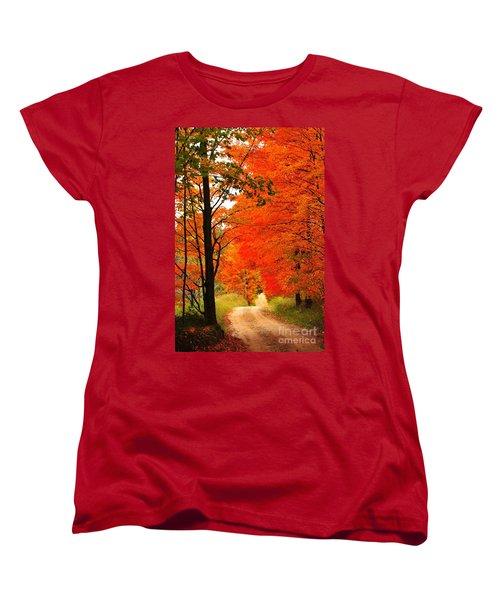 Women's T-Shirt (Standard Cut) featuring the photograph Autumn Orange 2 by Terri Gostola