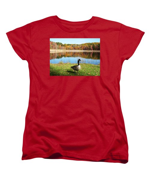 Women's T-Shirt (Standard Cut) featuring the photograph Autumn Pond Goose by Aimee L Maher Photography and Art Visit ALMGallerydotcom