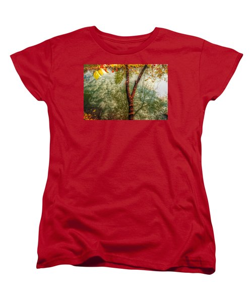 Women's T-Shirt (Standard Cut) featuring the photograph Autumn Reflection  by Peggy Franz