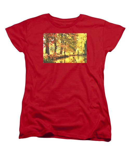 Women's T-Shirt (Standard Cut) featuring the painting Autumn Reflections by Sophia Schmierer