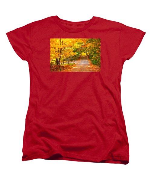 Women's T-Shirt (Standard Cut) featuring the photograph Autumn Road Home by Terri Gostola
