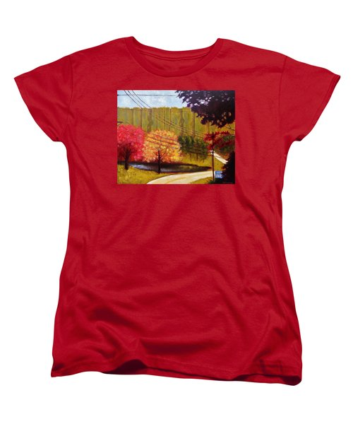 Women's T-Shirt (Standard Cut) featuring the painting Autumn Slopes by Jason Williamson